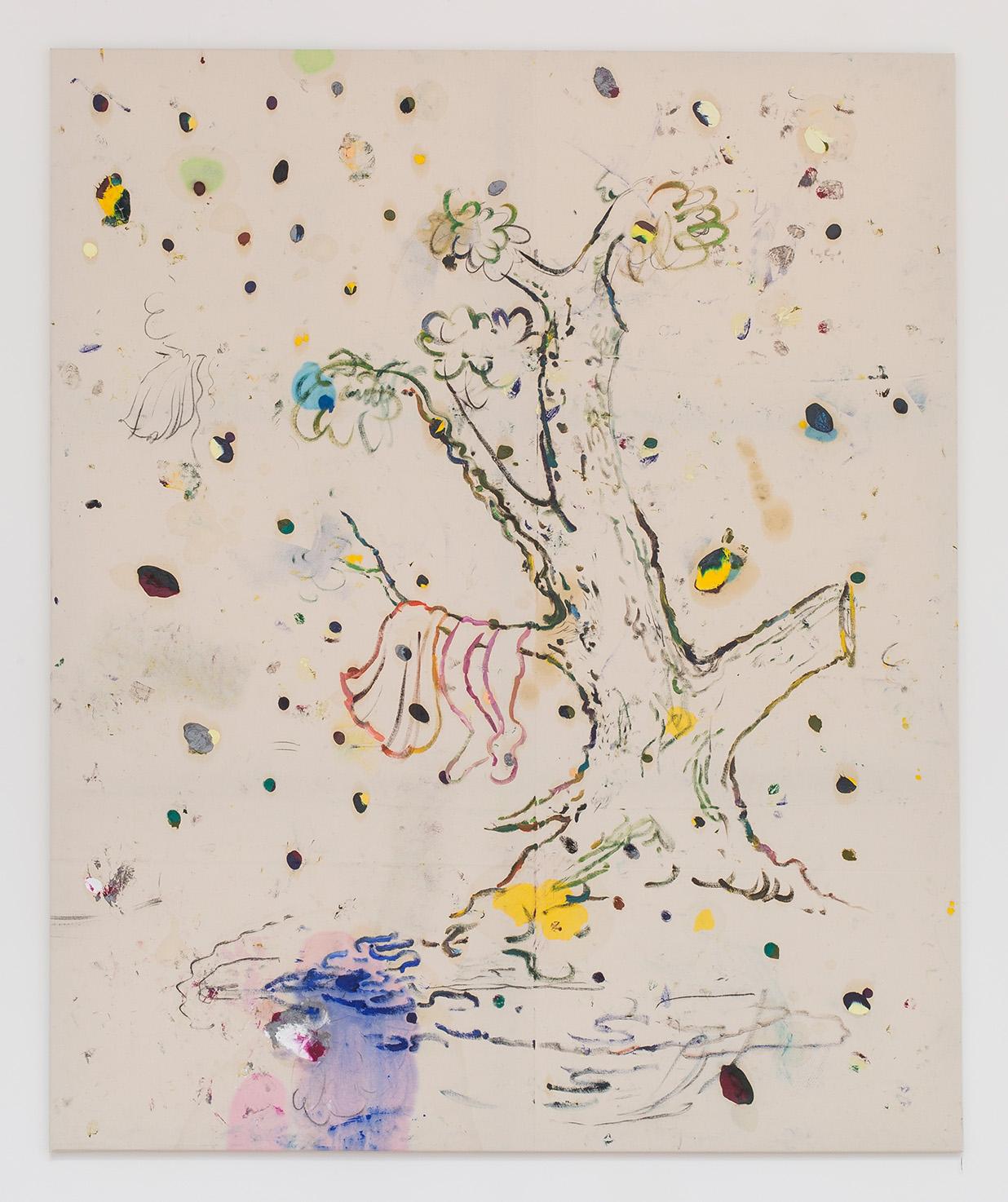 Razvan Boar, Juice Tree, oil, charcoal and spray paint on canvas, 217x180 cm, 2015, courtesy Ibid Gallery and razvan Boar